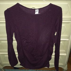 maroon athletic long sleeve top